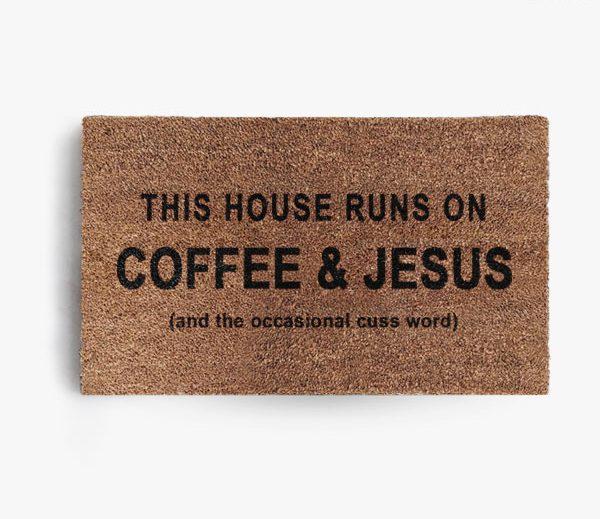 Coffee and Jesus + Cuss Word Doormat